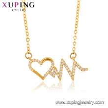 44437 Popular women jewelry heart shaped design 24k gold plated pendant necklace